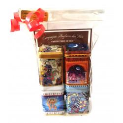 Surtido de 4 cajas de Tés verdes Perfumados - ¡Idea para regalo!