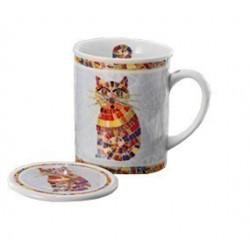 Tisanière Chat porcelaine