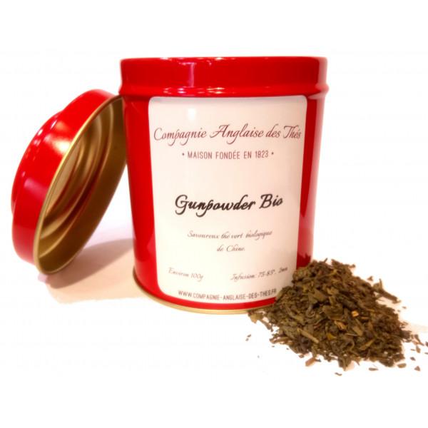 Thé de Chine -Thé vert GUNPOWDER BIO en boîte