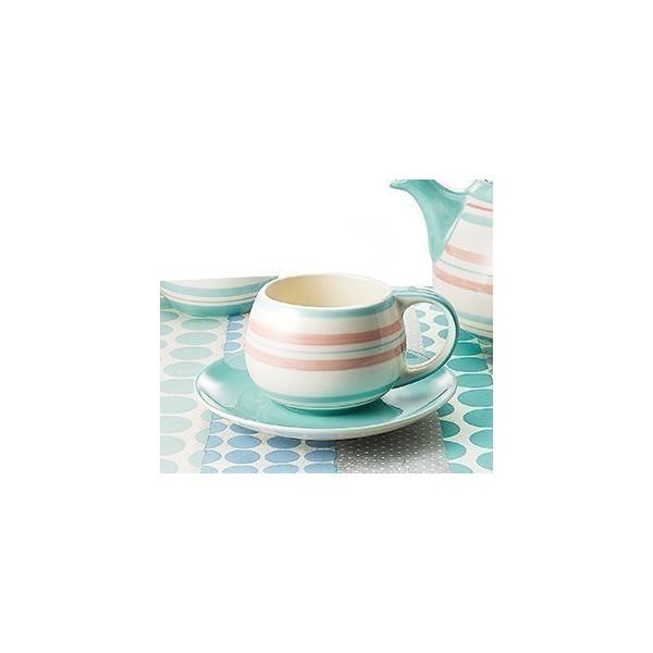 Mug et soucoupe rayé pastel