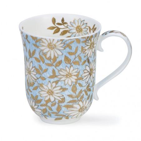 Mug Dunoon Fleurs dorées et bleues